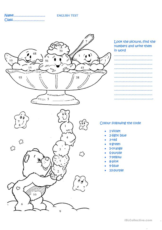 English test for 3rd grade:numbers and colours worksheet