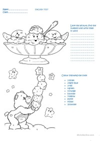 English test for 3rd grade:numbers and colours worksheet ...