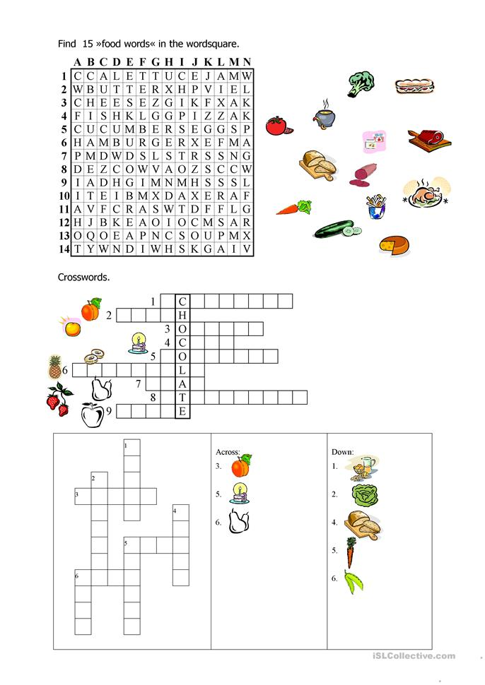 27 FREE ESL food crossword worksheets