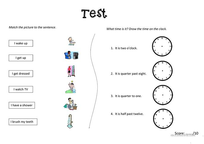 Test (x 3 versions): Daily routine and time worksheet