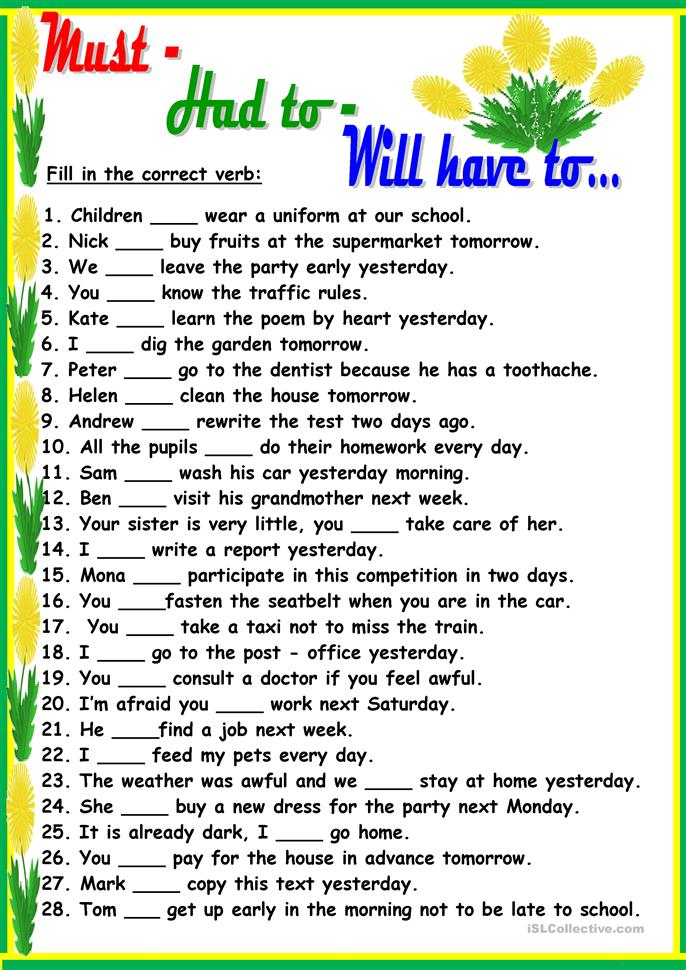 Must Had To Will Have To Worksheet
