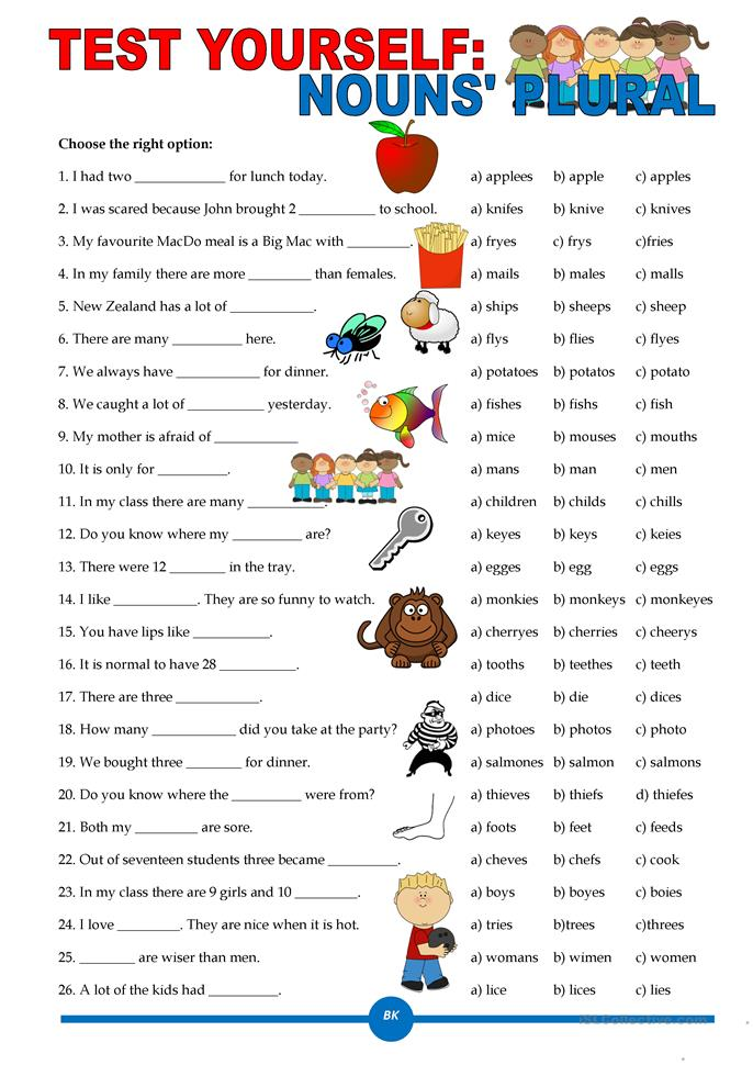 Test Yourself Nouns Plural Worksheet