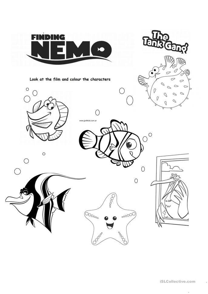 5 FREE ESL Finding Nemo worksheets