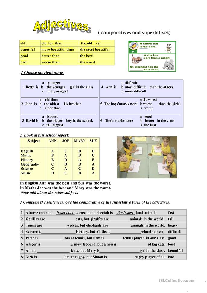 Adjectives Comparatives And Superlatives Worksheet