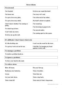 Stress Management Idioms worksheet - Free ESL printable ...