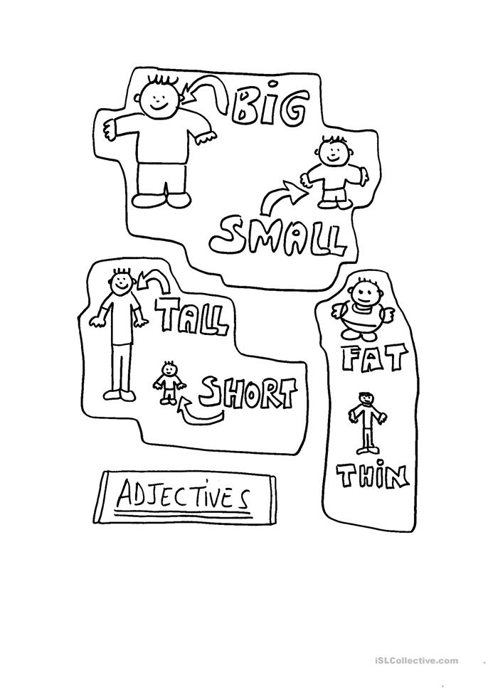 Adjectives: big-small, short-tall, fat-thin worksheet