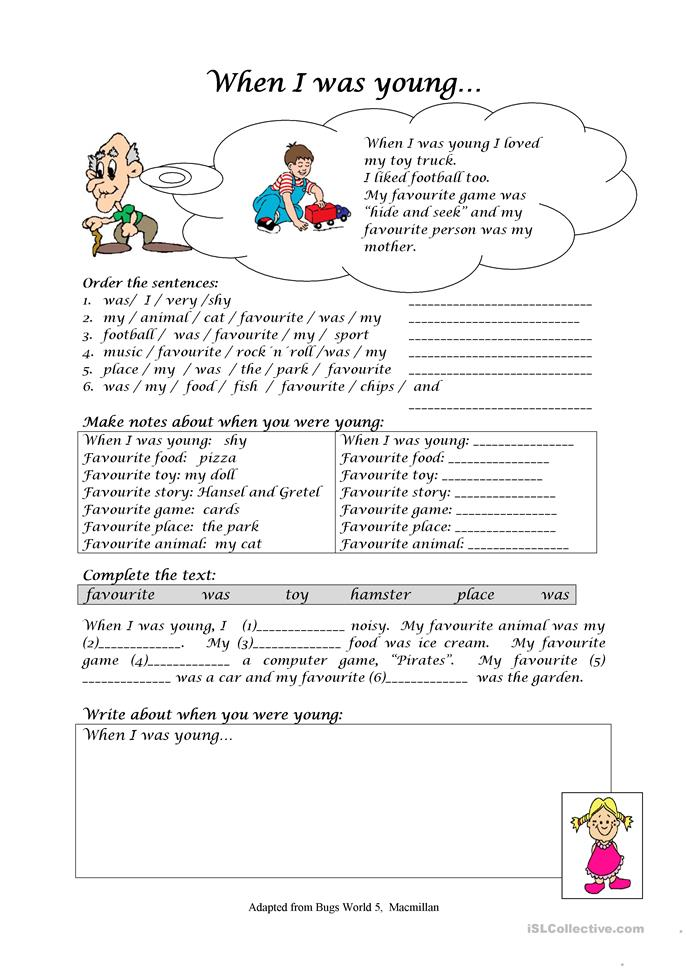 When I Was Young Worksheet