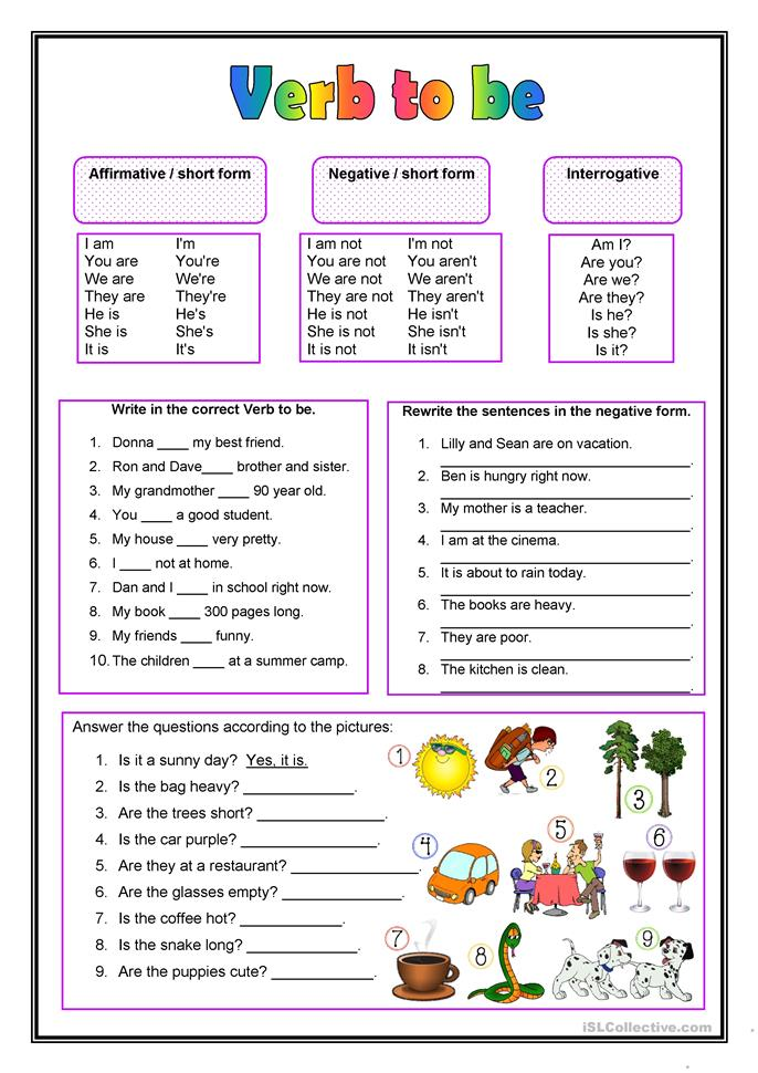 The Verb To Be Worksheet