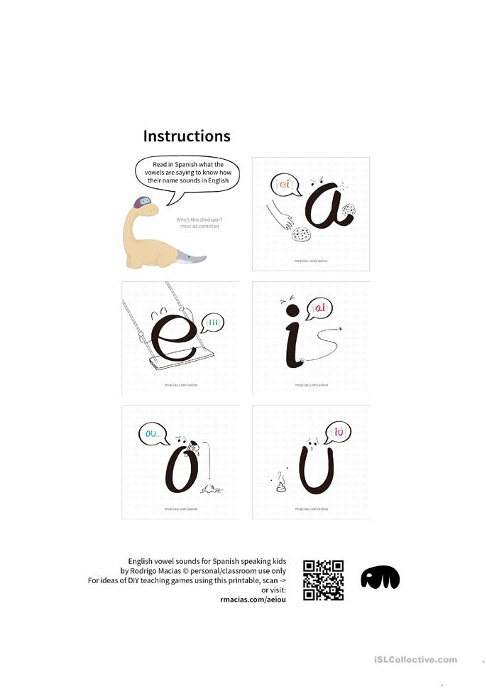 English vowel names for Spanish-speaking kids worksheet