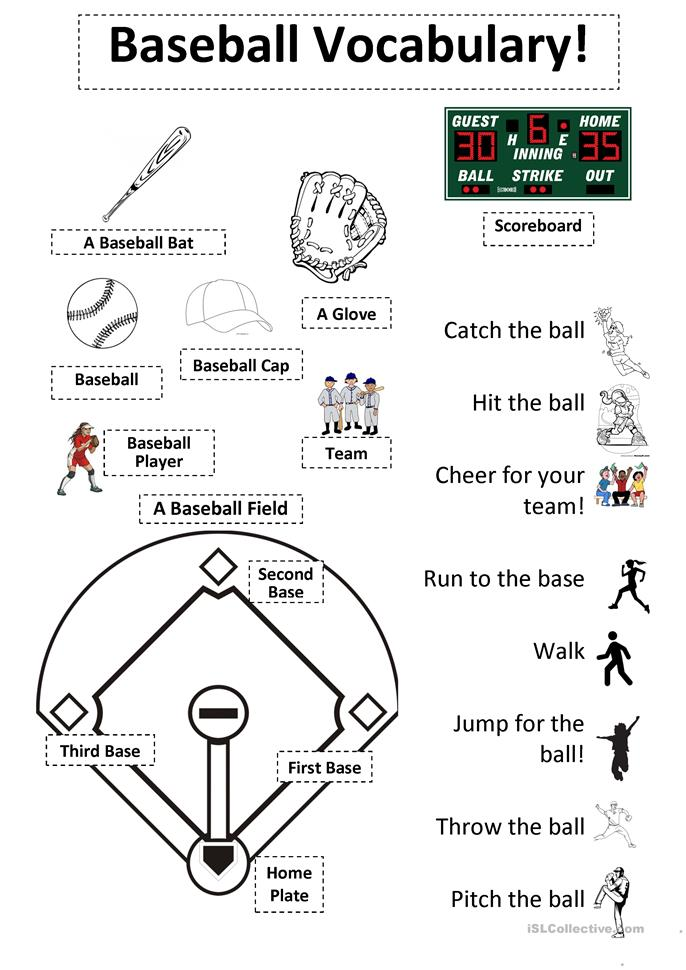 8 FREE ESL baseball worksheets
