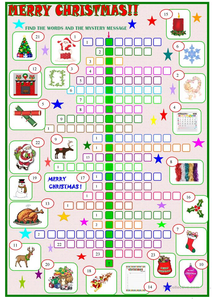 Christmas Corssword Puzzle With A Hidden Message Key