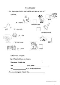 Kindergarten Worksheets Animal Habitats