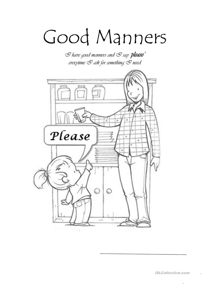 7 FREE ESL good manners worksheets