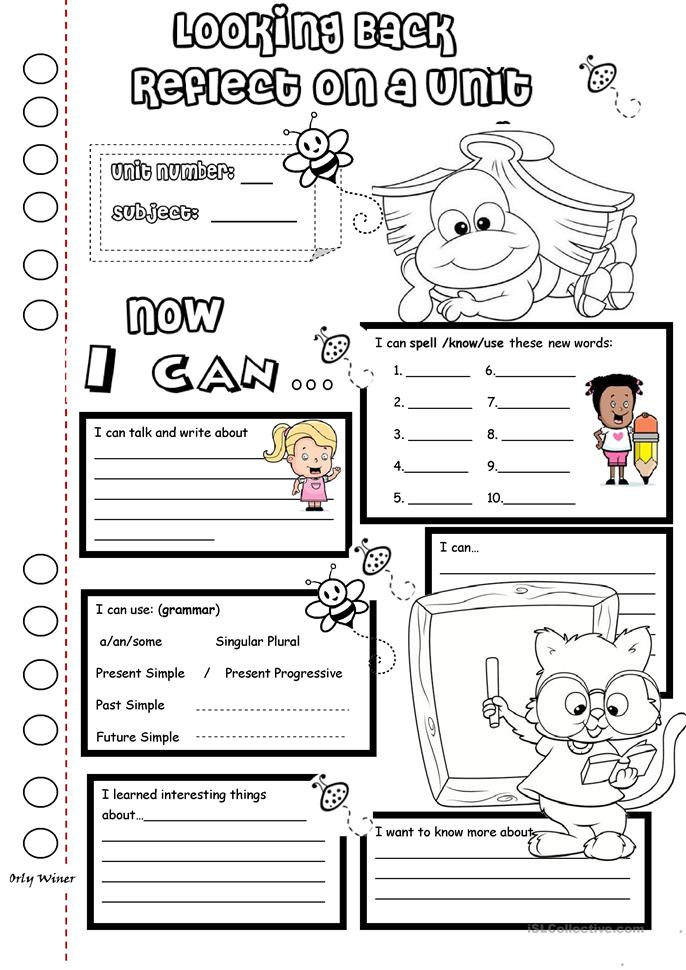 10 FREE ESL reflection worksheets