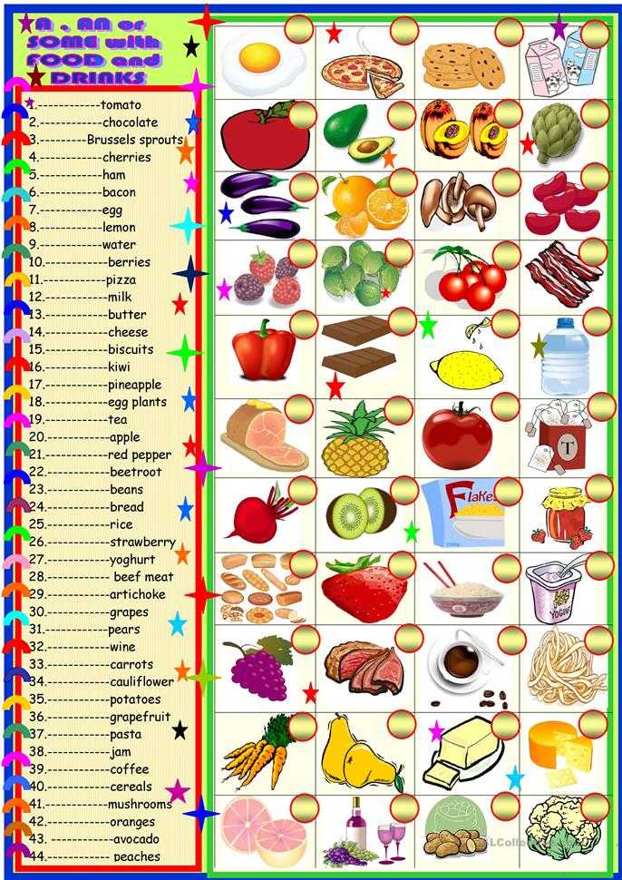 Food An A Or Some Matching Worksheet