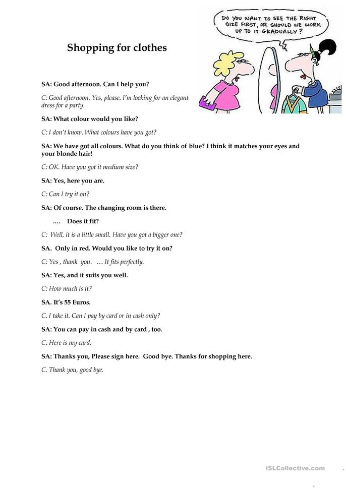 Shopping For Clothes Dialogue Sample Worksheet Free ESL