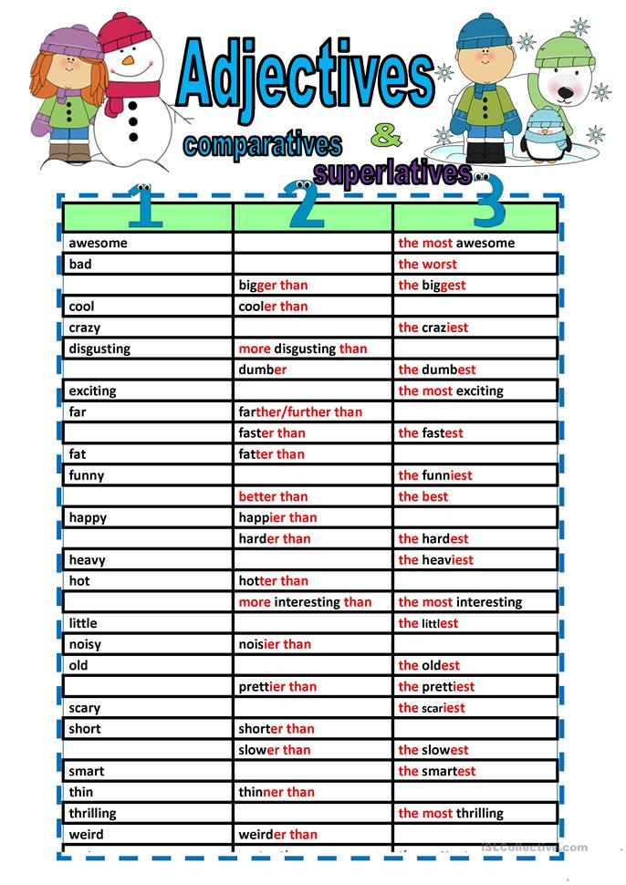 Comparative And Superlative Adjectives Fill Ins Worksheet