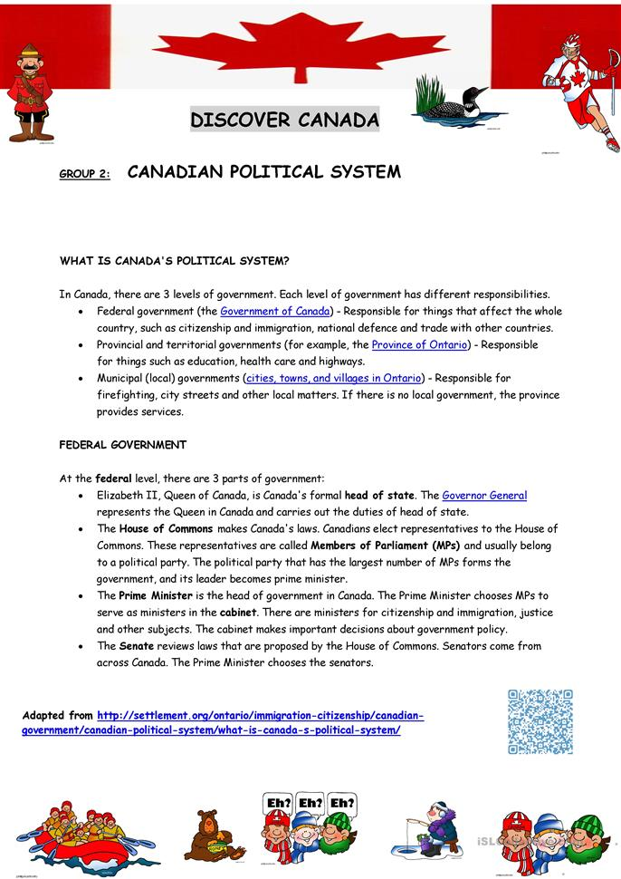 Canada Introduction Reading Comprehension Sheets 2
