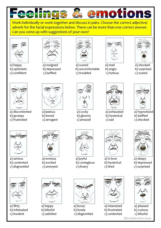 Feelings And Emotions Adjectives Adverbs Worksheet