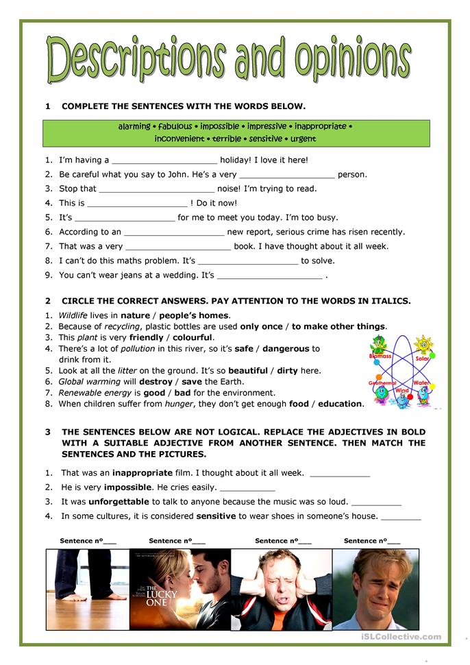 DESCRIPTIONS AND OPINIONS Worksheet Free ESL Printable Worksheets Made By Teachers