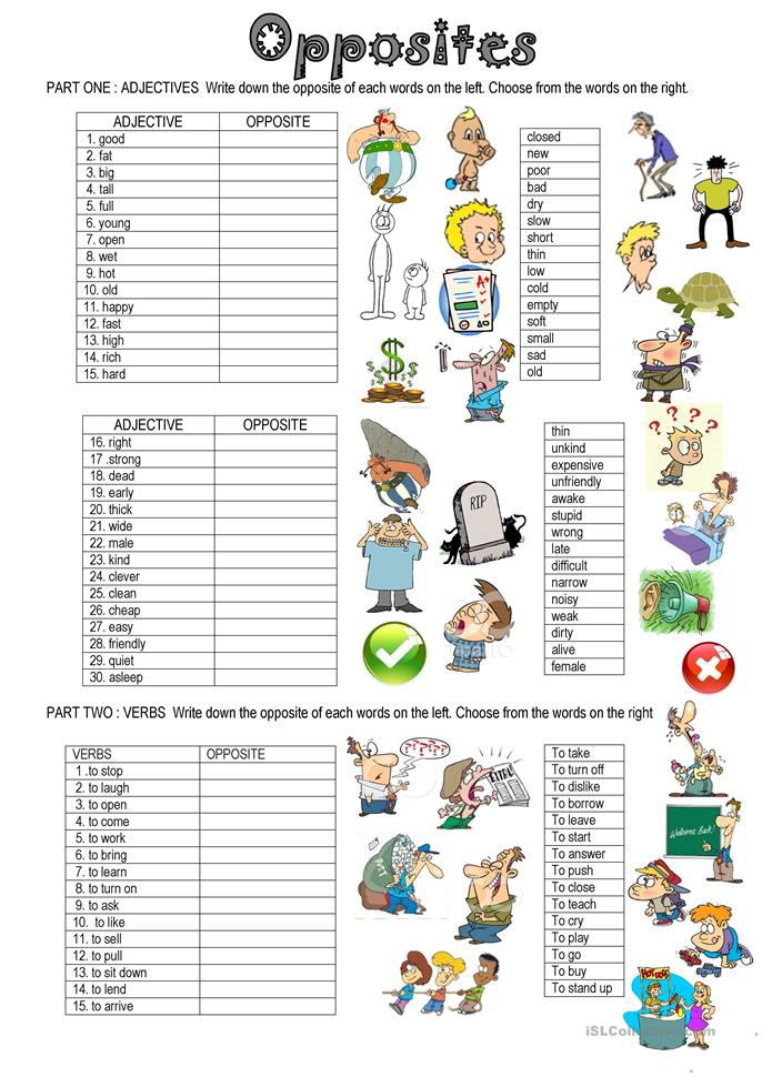 207 Free Esl Opposite Worksheets