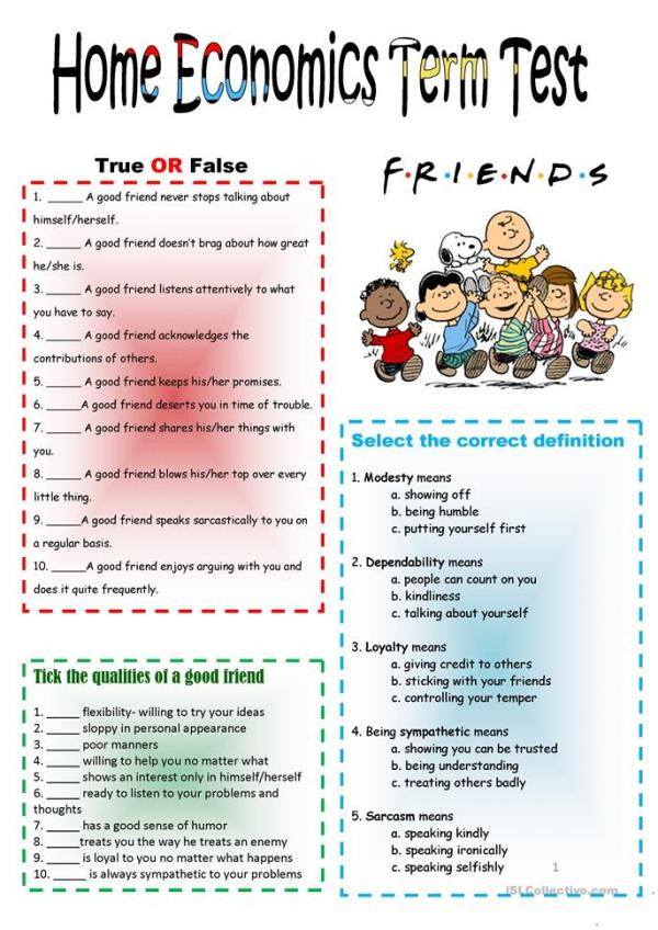 Friendship Good Neighbors Test worksheet Free ESL