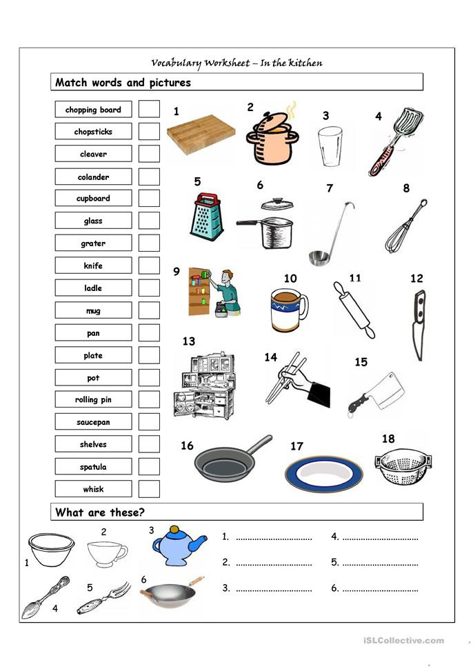 104 FREE ESL kitchen worksheets