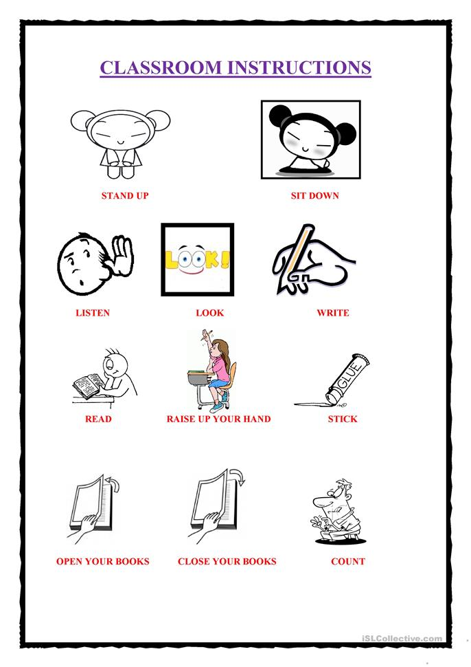 school objects listening and reading comprehension
