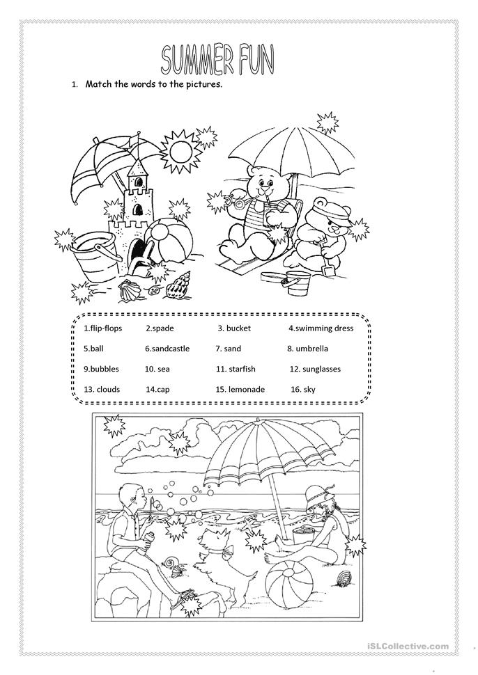 104 FREE ESL Summer worksheets