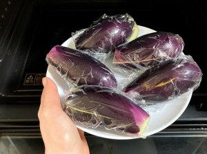 eggplants taken out of the microwave