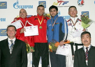 An awarding ceremony for the men's A78 -80kg weight category.