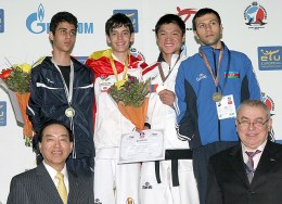 An awarding ceremony for the men's A8 -58kg weight category.