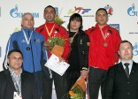 An awarding ceremony for the men's A8 +80kg weight category.