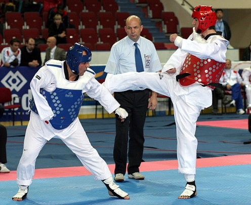 The men's A8 -68kg final match between Azerbaijan's Huseyn Hasanov (right) and his compatriot Mahmud Samadov.