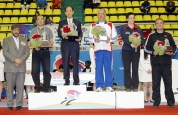 Representatives of the top five female teams pose during a closing ceremony. Korea grabbed the women's overall title, followed by China, France, Croatia and Turkey.