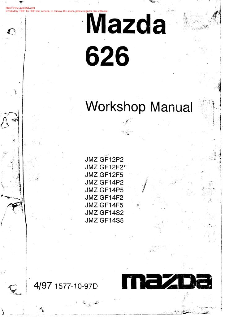 Workshop Manual For Mazda 626 Year 1999
