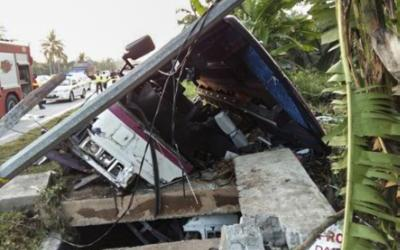 BUS PLUNGES INTO DRAIN, TWO INDONESIANS DIE EIGHT OTHERS SUSTAIN INJURIES