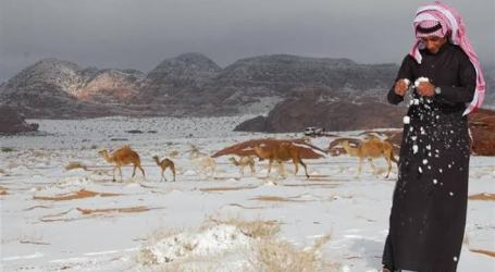 Desert in Saudi Arabia Covered by Snow