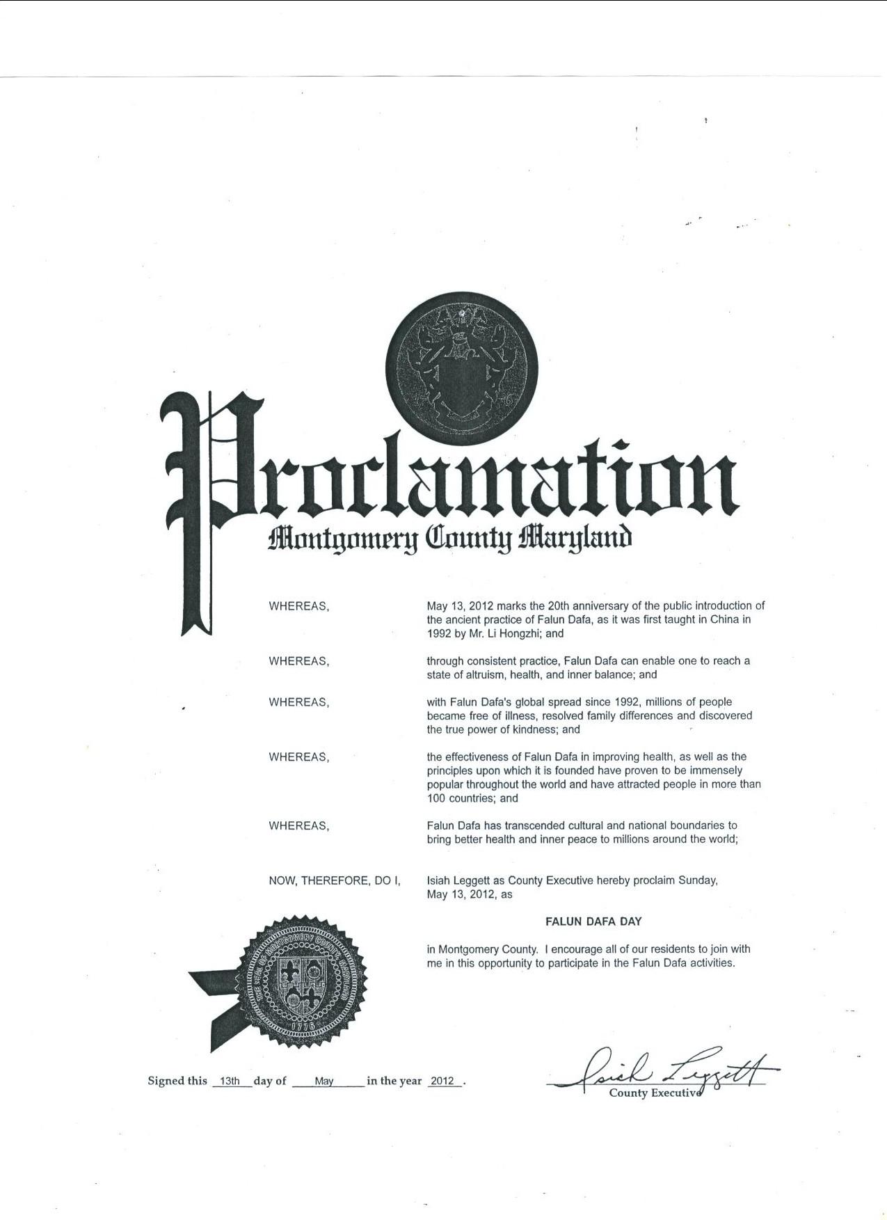 Washington DC Celebrates Falun Dafa Day, Members of