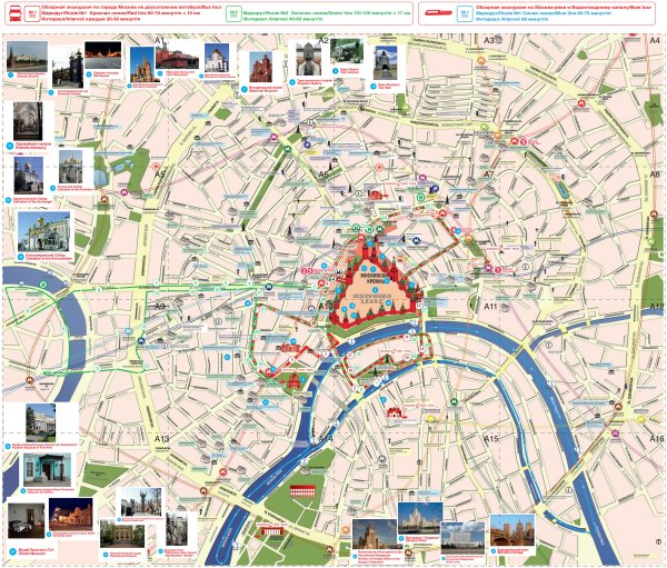 Map of Moscow tourist attractions sightseeing tourist tour
