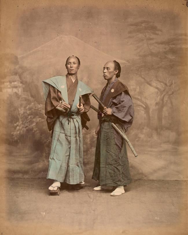Deux Hommes En Costume : hommes, costume, Hommes, Costume, Traditionnel,, Samouraï, Stillfried, Andersen, Print,, Posters, Framed