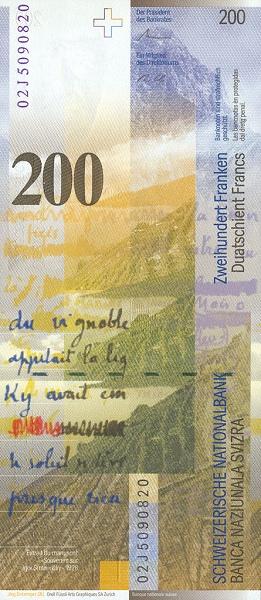 Billet De 200 Francs : billet, francs, Francs, Series), Switzerland, Numista