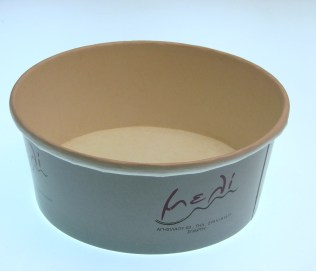 "Carton cream cup for ""Meli"""