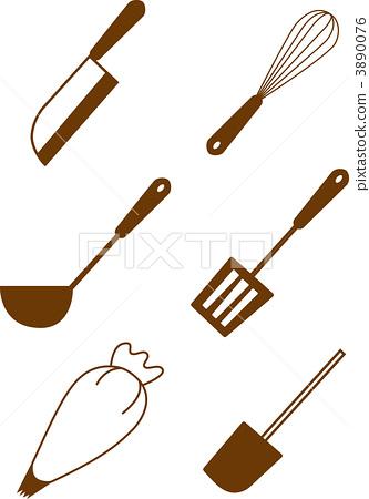 kitchen spatula contemporary curtains 厨房用品小铲子橡胶抹刀 图库插图 3890076 pixta 厨房用品小铲子橡胶抹刀3890076