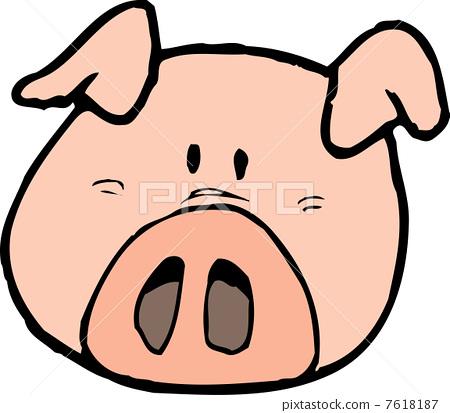 一頭豬-插圖素材 [7618187] - PIXTA圖庫