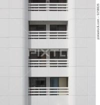 Closeup white balcony modern building- [9258826] - PIXTA