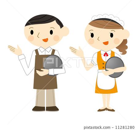 服務員和女服務員-插圖素材 [11281280] - PIXTA圖庫