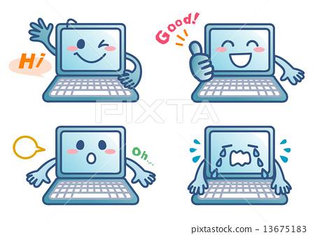 個人電腦的性格喜歡和快樂4姿勢-插圖素材 [13675183] - PIXTA圖庫