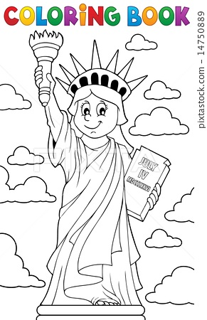 Coloring Book Statue Of Liberty Theme 1 Stock Illustration 14750889 Pixta