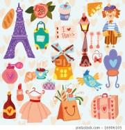 paris cute set of cartoon
